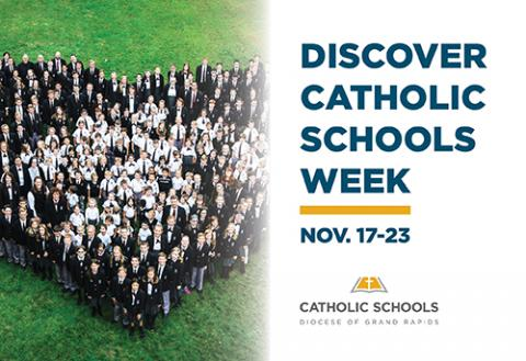Students gathered in a heart shape for Discover Catholic Schools Week